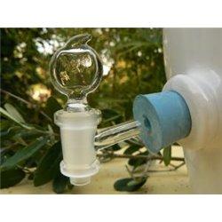Robinet clé verre pour vinaigrier + jeu de 2 bouchons caoutchouc percés