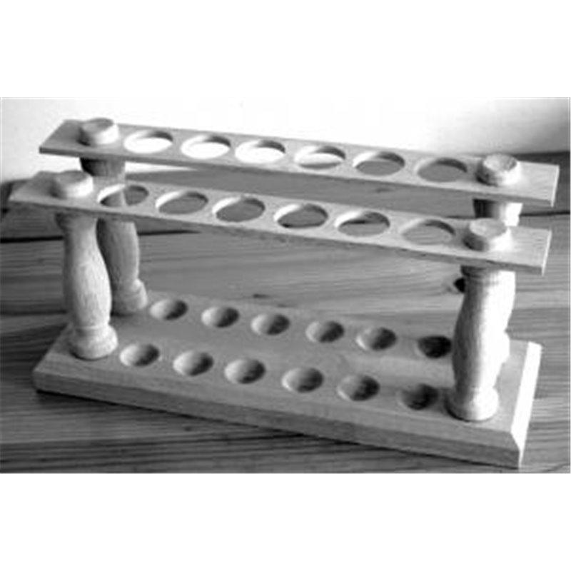 Portoir en bois pour tubes Ø ext. 20 mm maxi. - 12 trous - Ø 22mm - sur 2 rangs