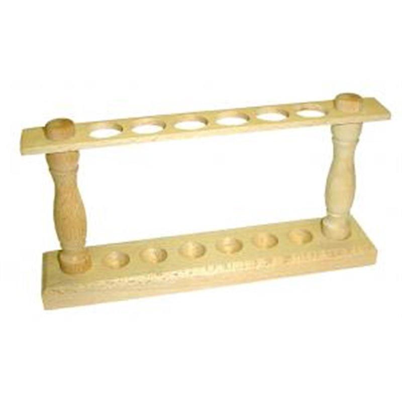 Portoir en bois pour tubes Ø ext. 20 mm maxi. - 6 trous - Ø 22mm - sur 1 rang
