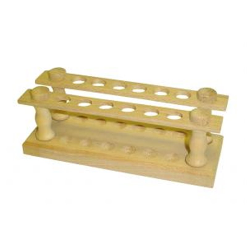 Portoir en bois pour tubes Ø ext. 14 mm maxi. - 12 trous - Ø 16mm - sur 2 rangs