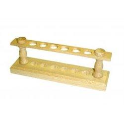 Portoir en bois pour tubes Ø ext. 14 mm maxi. - 6 trous - Ø 16mm - sur 1 rang