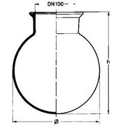 Corps sphérique rodé à gorge dn 100 capacité 2 litres